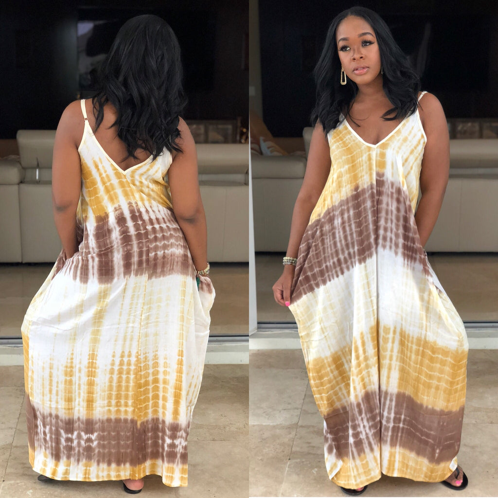 "The ""Chill Out"" Mustard & Brown Maxi Dress"