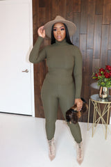 "The ""Turtle Neck"" Olive 2-Piece Set"