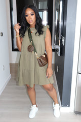 "The ""Pretty Girl"" Olive Babydoll Dress"