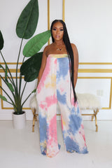 "The ""Sky Girl"" Tye-Dye Blue Jumpsuit"