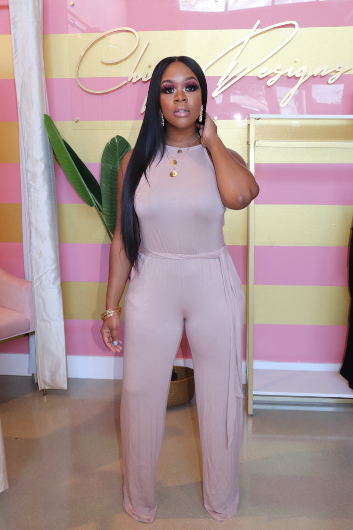 "The ""Sarah"" Beige Jumpsuit"