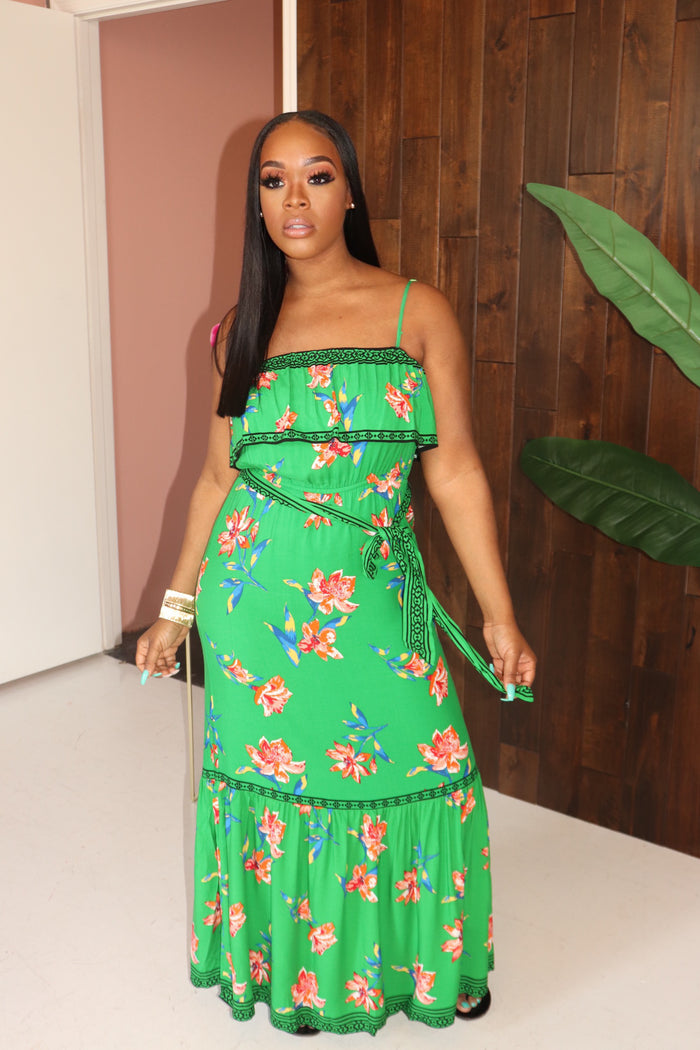 "The ""Floral Print"" Green Dress"