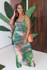 "The ""Miami Girl"" Tye-Dye Green Dress"