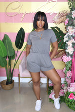 "The ""She Cute"" Charcoal Romper"
