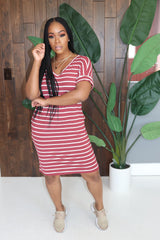 "The ""Today"" Burgundy Striped Dress"