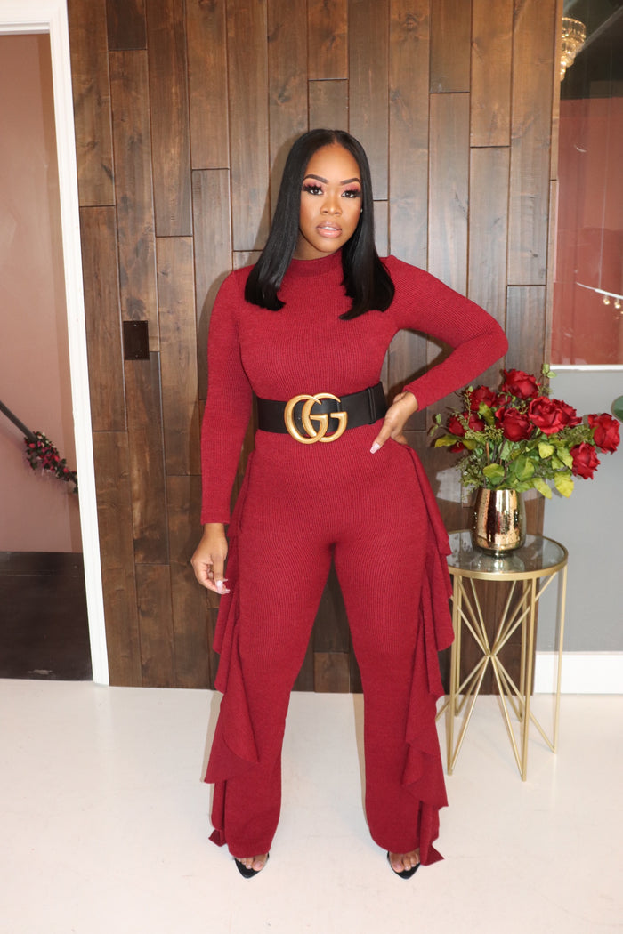 "The ""Shake It"" Burgundy Jumpsuit"