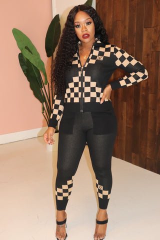 "The ""Checker Board"" Black/Beige Set"