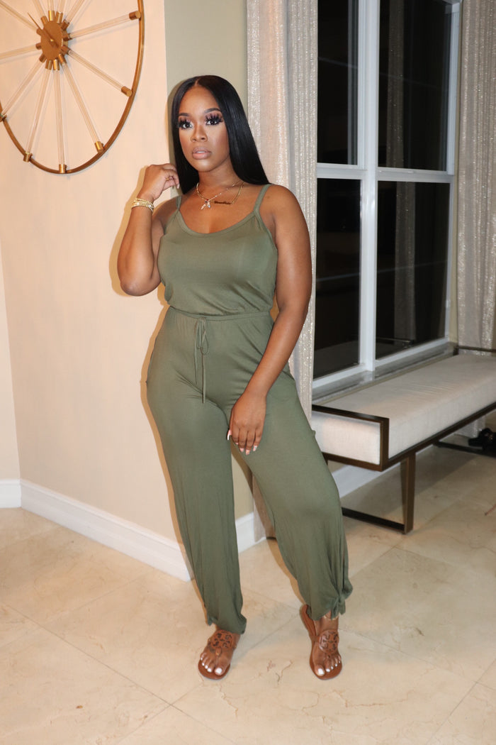 "The ""Easy Breeze"" Olive Jumpsuit"