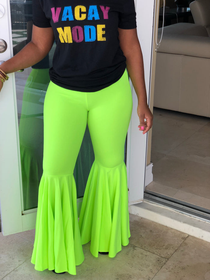 "The ""Flare Me"" Neon Lime Pants"