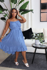 "The ""I'm A Lady"" Blue Pleaded Dress"