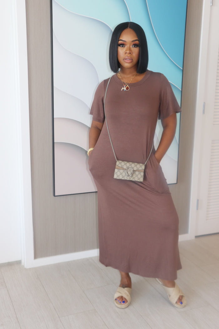 "The ""Only You"" Round Neck Mocha Dress"