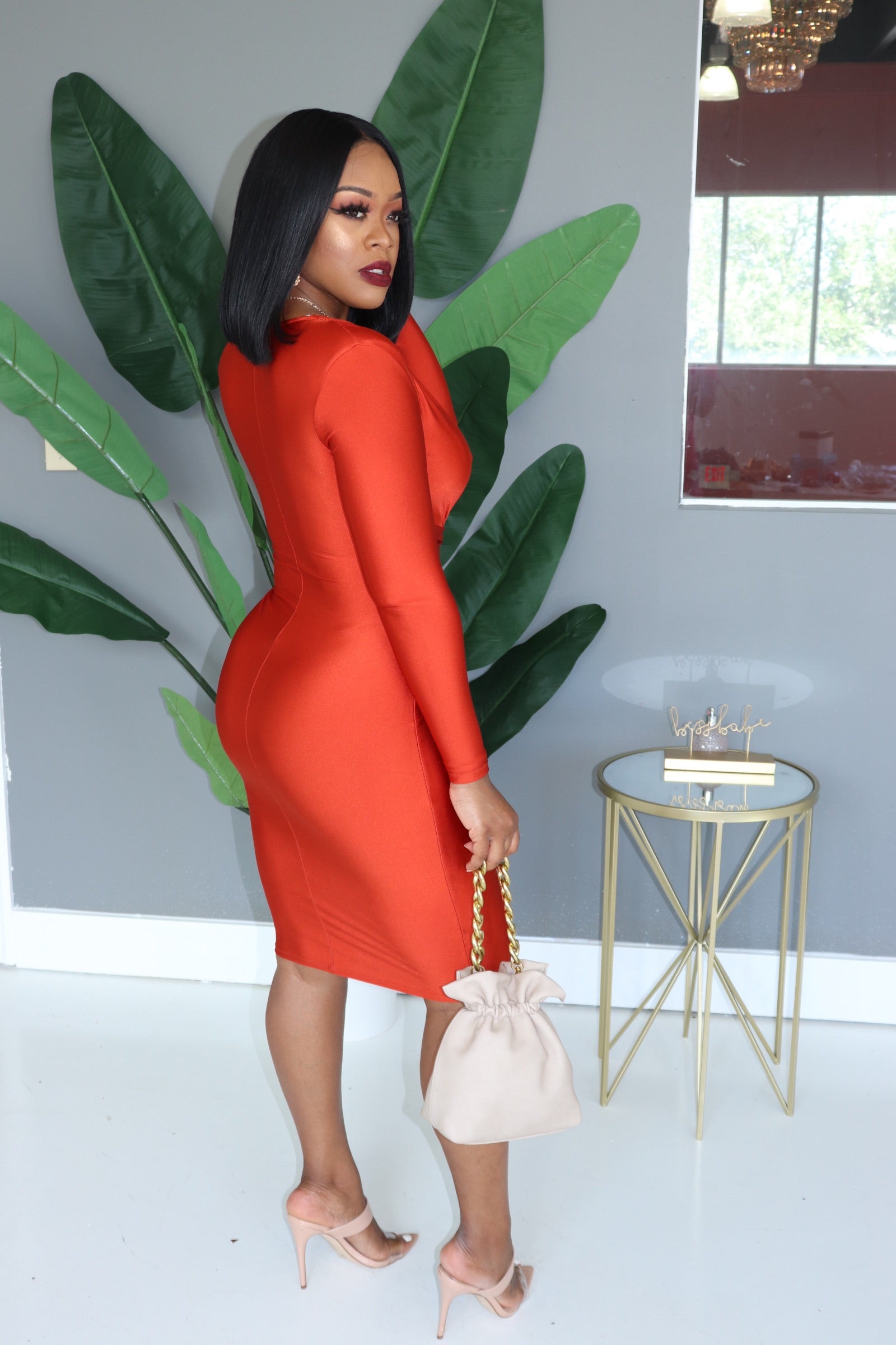 "The ""Gina"" Burnt Rust Orange Dress"