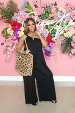 "The ""All About Fun"" Black One Shoulder Jumpsuit"