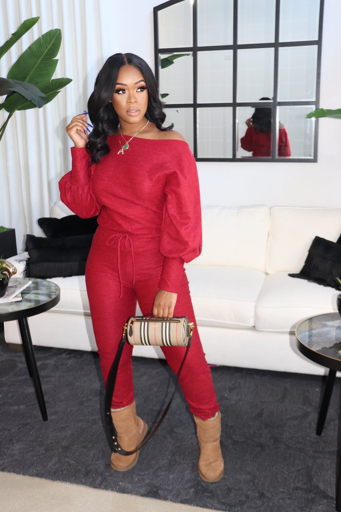 "The ""Chill Girl"" Burgundy Jumpsuit"