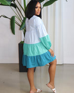 "The ""Always Happy"" Color block Blue Dress"