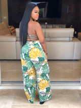 "The ""Aloha"" Green Backless Jumpsuit"