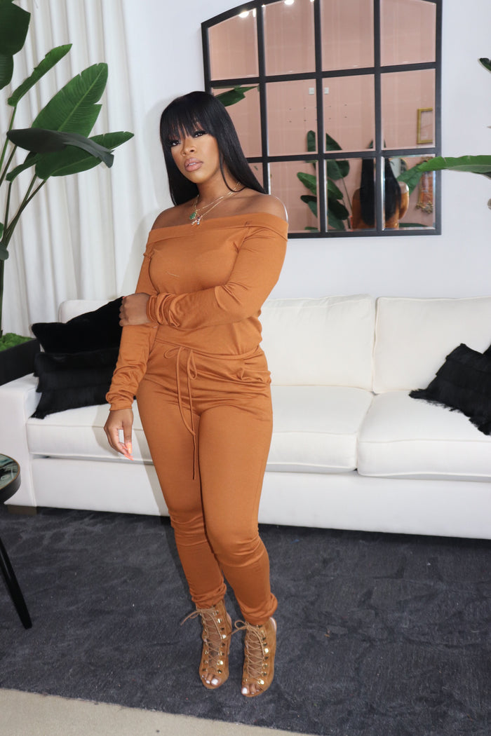 "The ""Leslie"" Camel Jumpsuit"