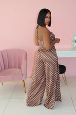 "The ""Play no games"" Brown Polka Jumpsuit"