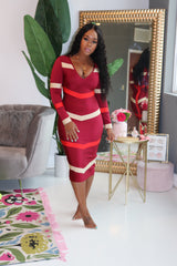 "The ""Fine Dining "" Red Color block Bandage Dress"