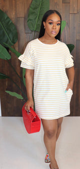 "The ""Keep it Cool"" Yellow Stripe Dress"