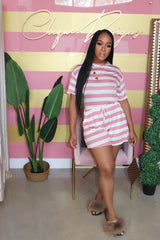 "The ""Chill n Pretty"" Stripe Mauve Romper"