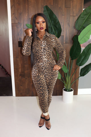"The ""Check Me Out"" Leopard Jumpsuit"