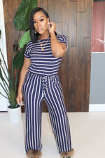 "The ""Comfy Girl"" Blue Stripe Jumpsuit"
