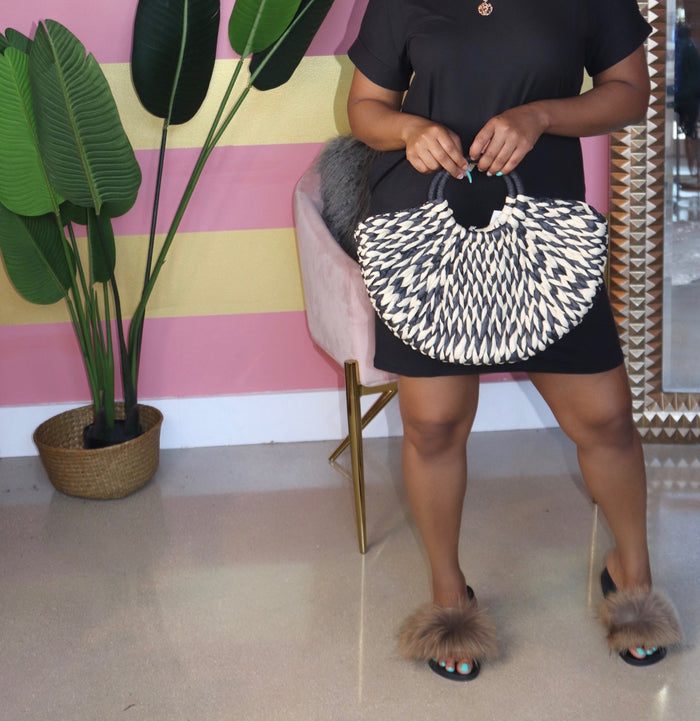 "The ""Luxe Black Straw Bag"""