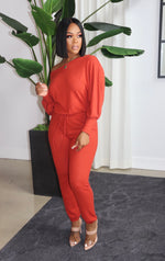 "The ""Venus"" Rust Orange jumpsuit"
