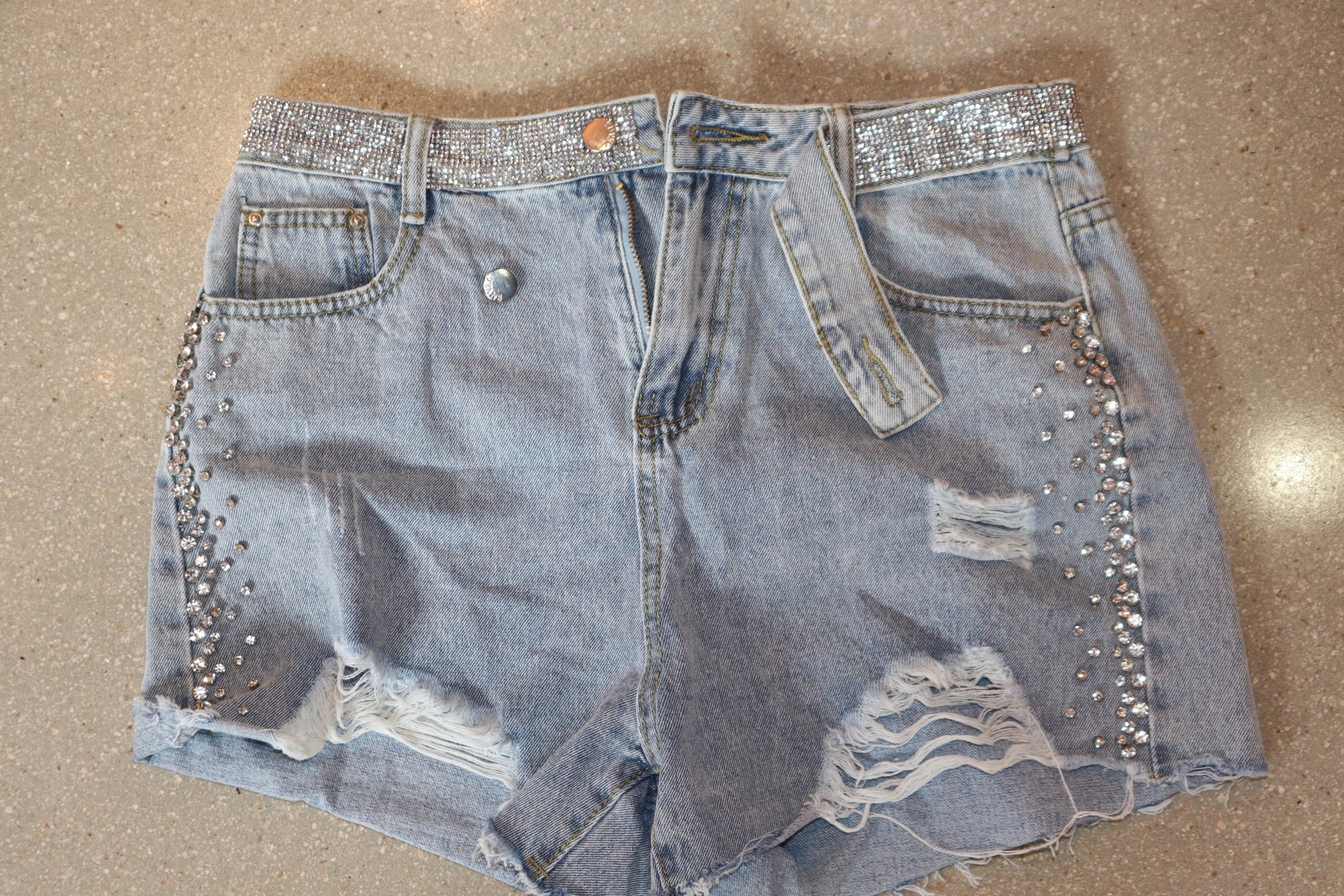 "The ""Ice Me Out"" Rhinestone Jean Shorts"