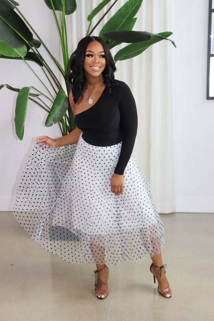 "The ""It's a Tea Party"" White Polka Skirt"
