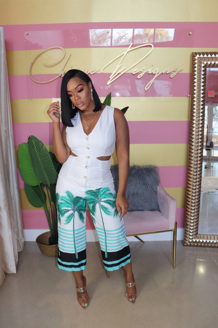 "The ""Palm Tree"" Cute Out Jumpsuit"
