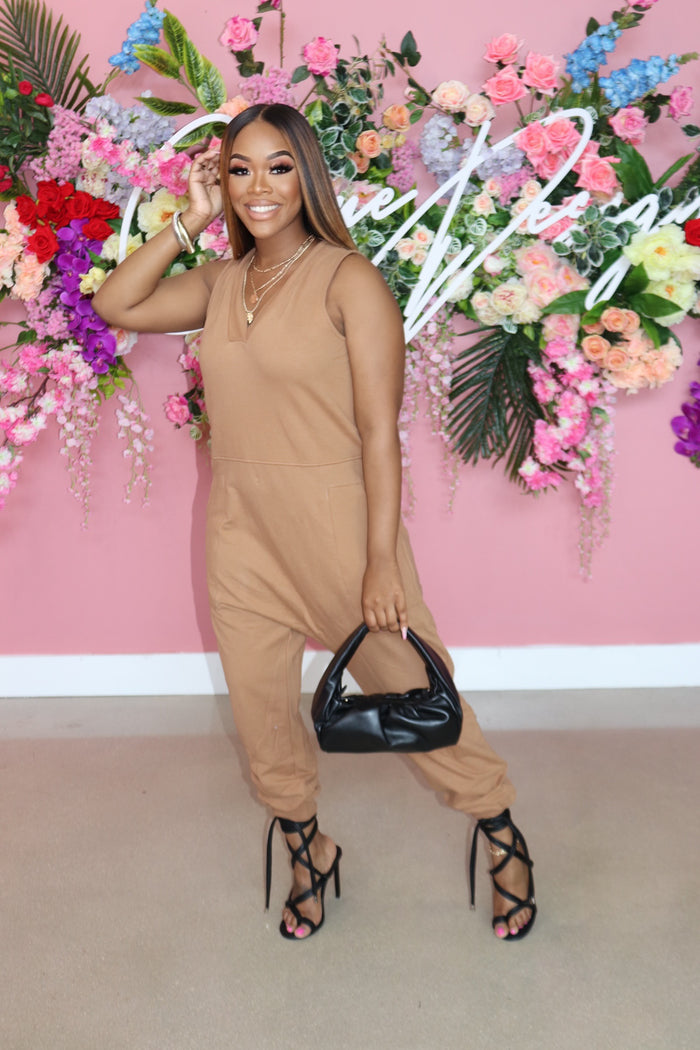 "The ""Out Of my way"" Camel Jumpsuit"