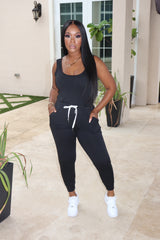 "The ""Let's Go"" Black Jumpsuit"