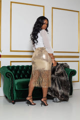 "The ""Show Girl"" Gold Shingle Skirt"