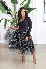 "The ""It's a Tea Party"" Black Polka Skirt"