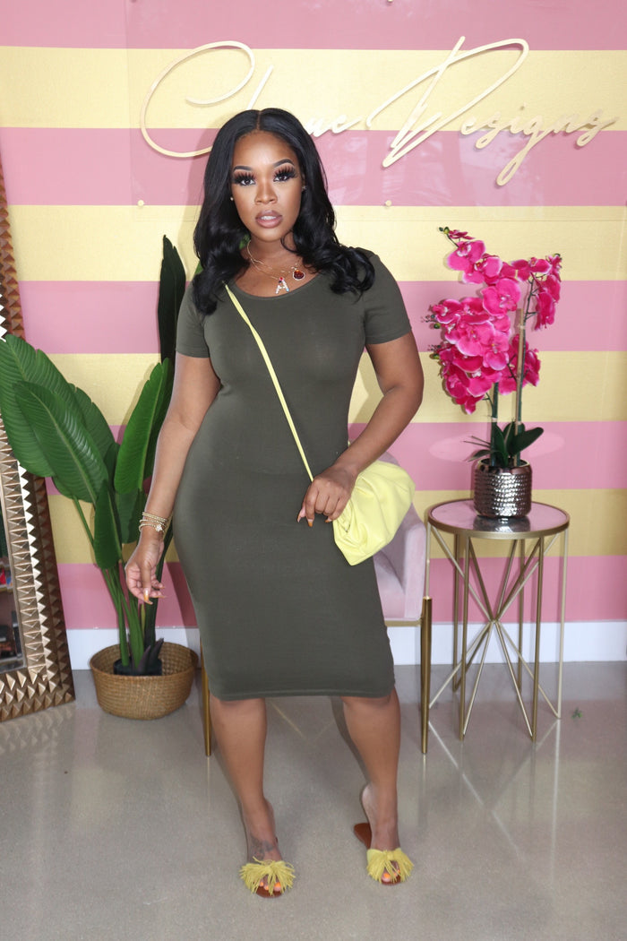 "The "" Kick Back "" Olive Dress"