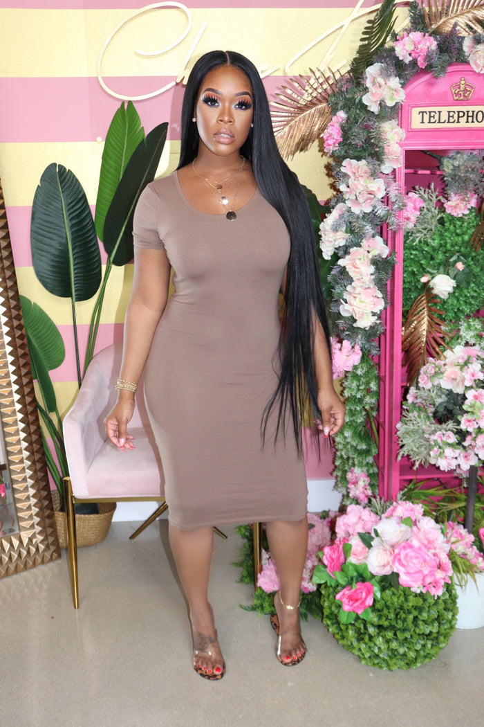 "The ""Kick Back"" Mocha Midi Dress"