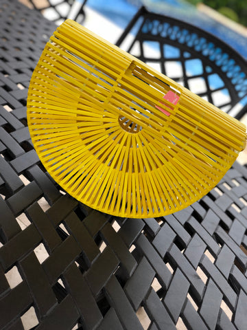 "The ""Vacay"" Wooden Yellow Purse"
