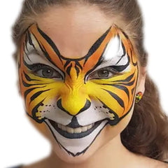 Orange gradient face paint Fusion body art Tiger face painting design