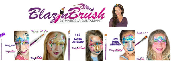 Blazin Brush face paint brushes Marcela Bustamante