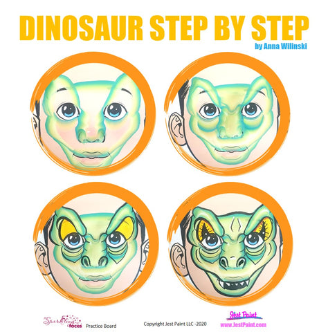Dinosaur Face Painting Step by Step Tutorial