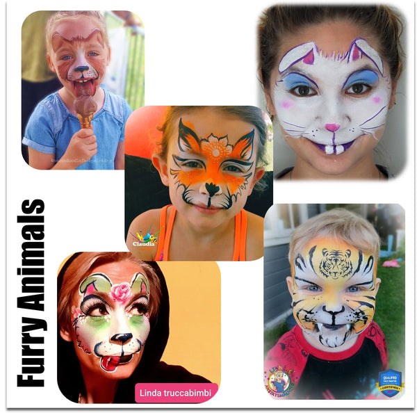 Furry animals face painting tiger cat bunny puppy makeup