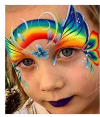 Leannes Neon Rainbow face paint butterfly Fusion body art