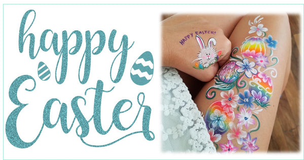 Happy Easter Face Painting Eggs and bunnies Jest Paint