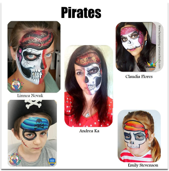 pirate face painting skull makeup