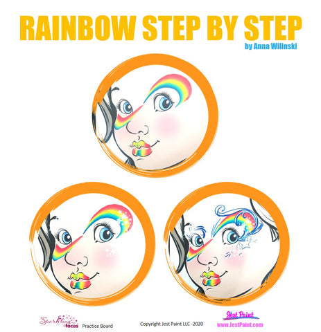 Rainbow Face Painting Step by Step Tutorial