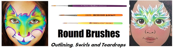 round face painting brushes bolt brushes