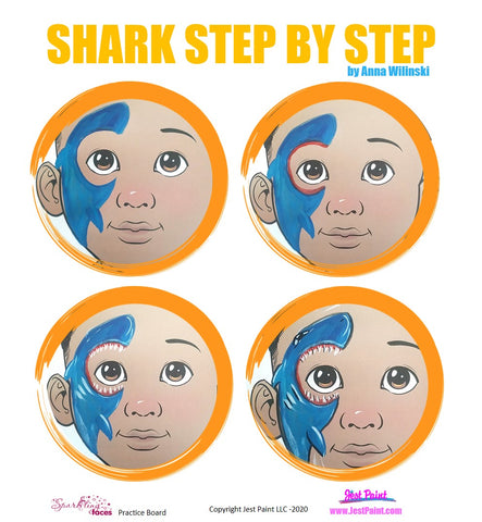 Shark Face Painting Step by Step Tutorial