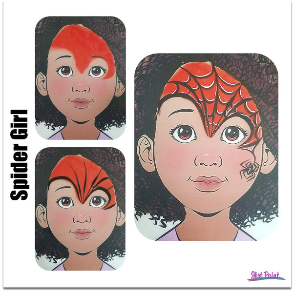 spiderman spider girl face paint step by step